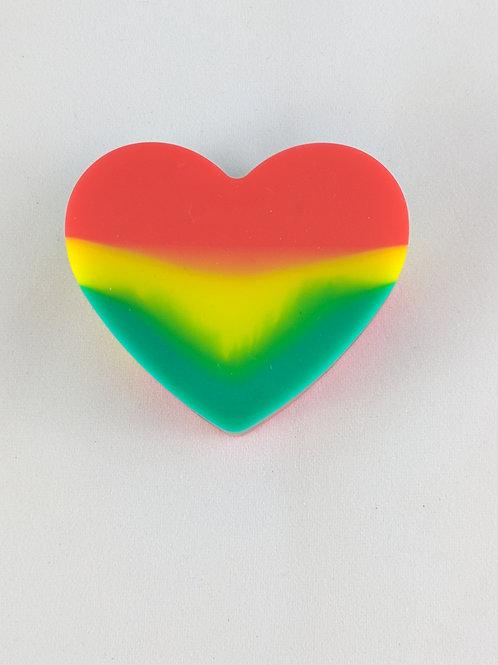 Rasta Love Silicone Heart Shaped Jar