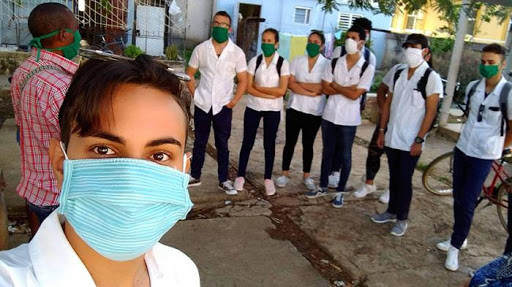 Cuban medical students canvassing Havana for COVID-19 contagion