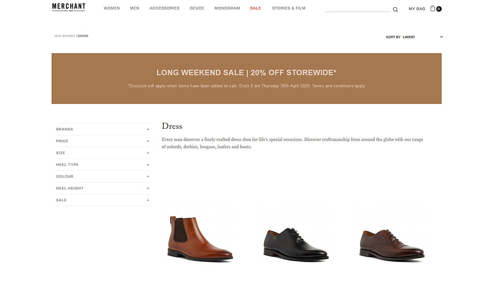 Merchant shoes for men