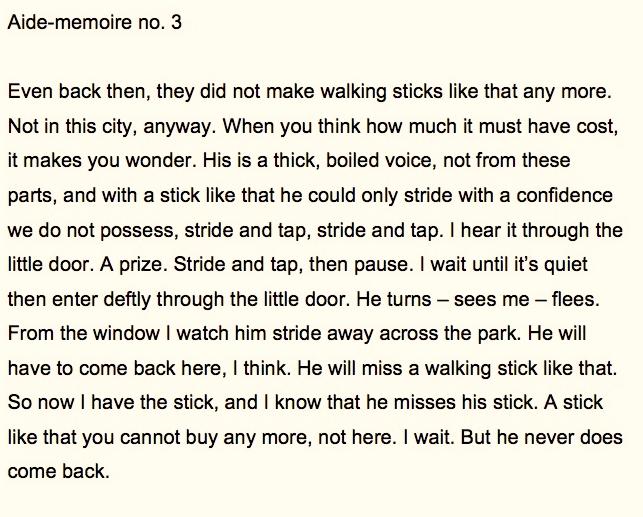 Aide-memoire #3, text