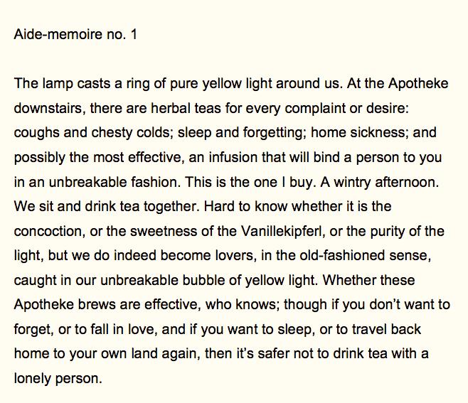 Aide-memoire #1, text