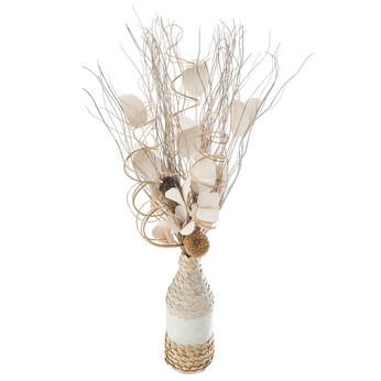 Composition Florale + Vase en OsierECRU.