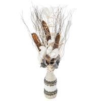 Composition Florale + Vase en Osier GRIS