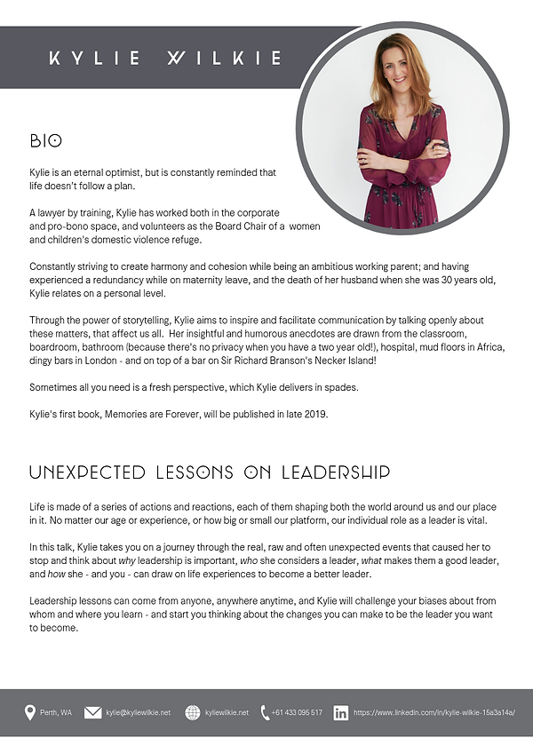 Kylie Wilkie - Unexpeced lessonson leadership