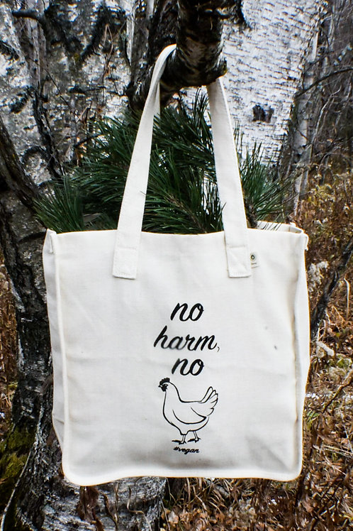 """no harm, no fowl"" canvas bag"