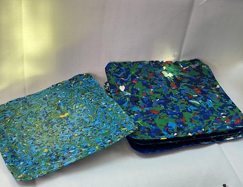 Jellyfish Shapes (set of 4) 20x20cm - Blue/Green