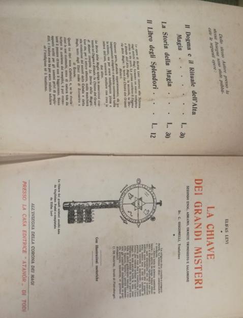 LA CHIAVE DEI GRANDI MISTERI - 1923 Eliphas Levi