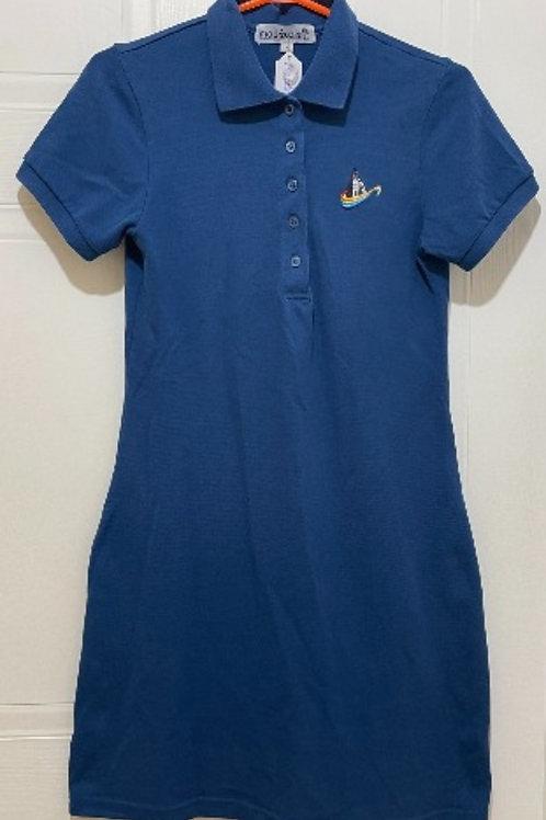 Robe polo bleu royale semi-ajusté manches courtes - Atipik