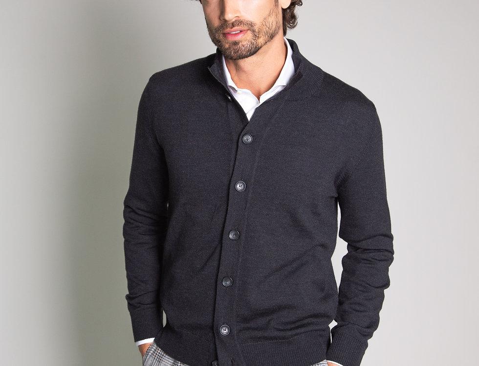 Cardigan collo alto 100% lana antracite