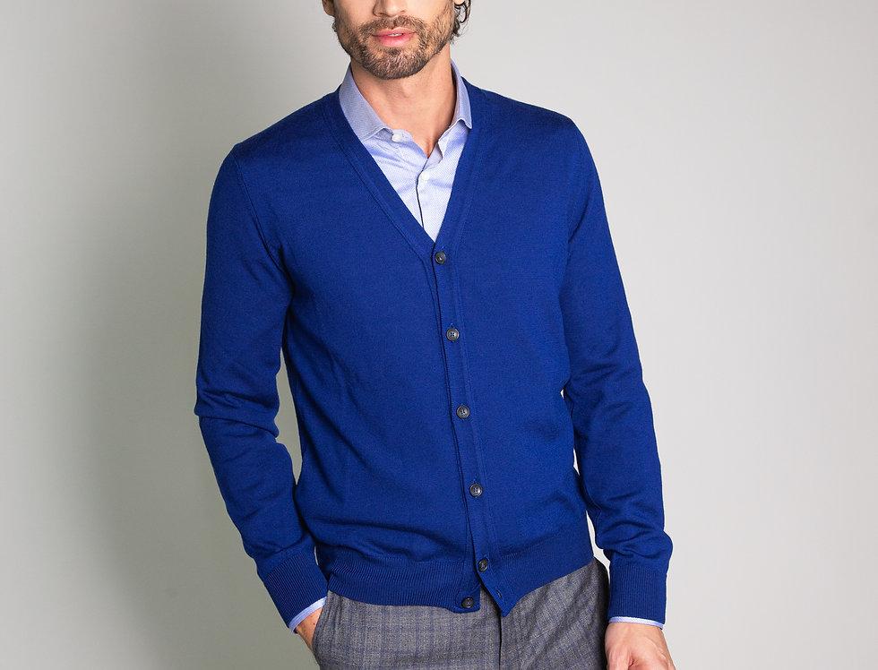 Cardigan 100% lana blu royal