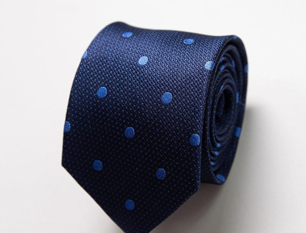 Cravatta pura seta blu a pois celesti