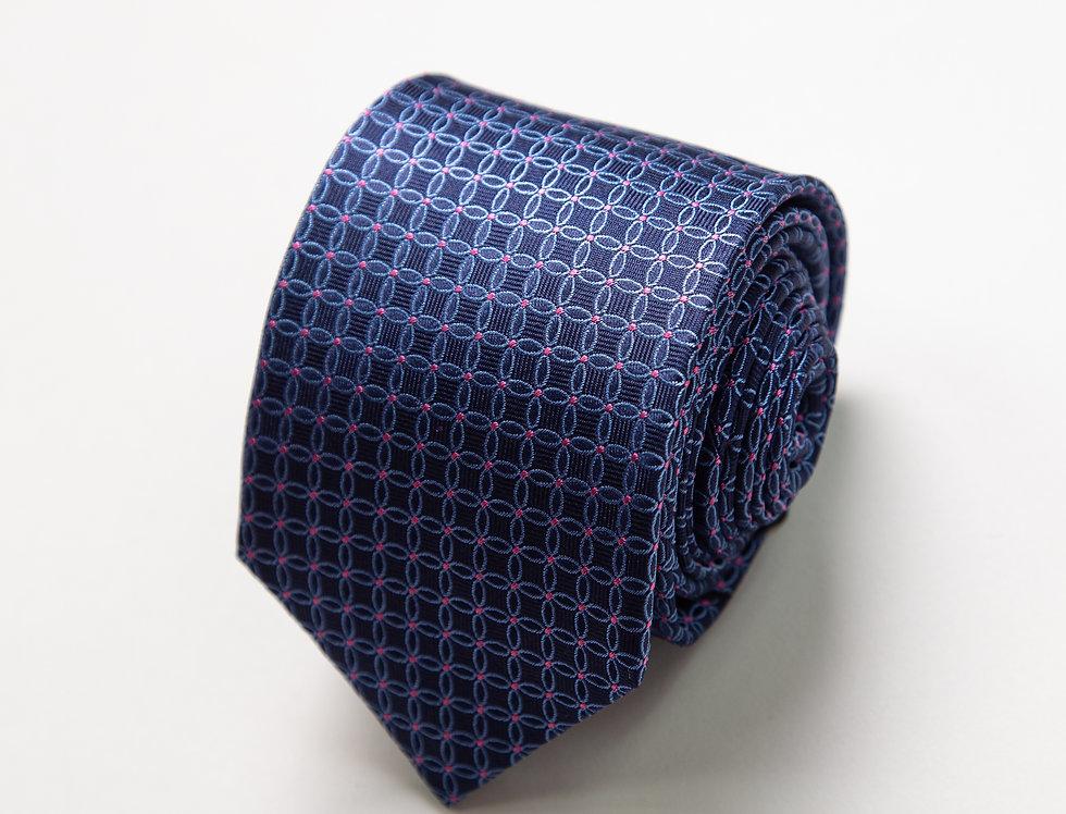 Cravatta pura seta fantasia blu e rosa