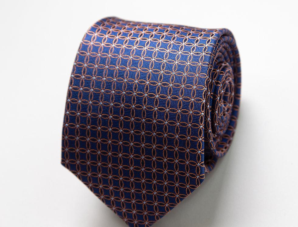 Cravatta pura seta fantasia blu e ruggine
