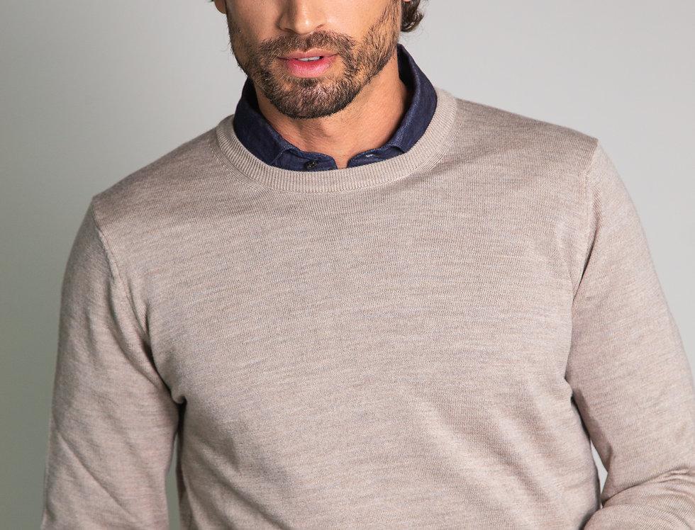 Girocollo 100% lana sabbia