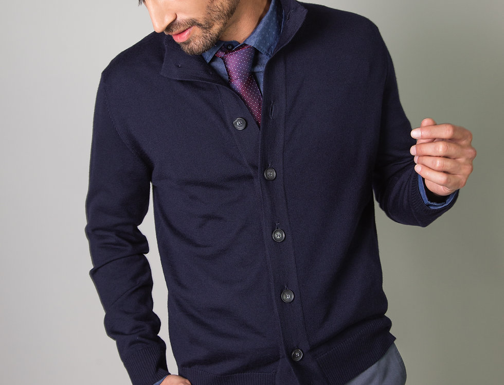 Cardigan collo alto 100% lana blu navy