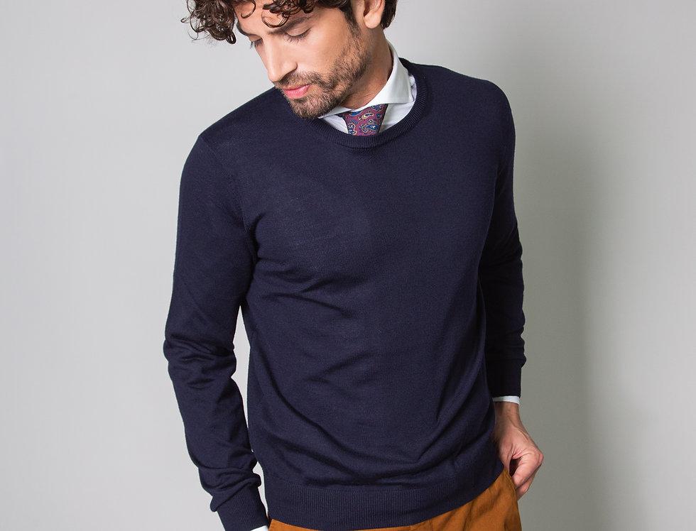 Girocollo 100% lana blu navy