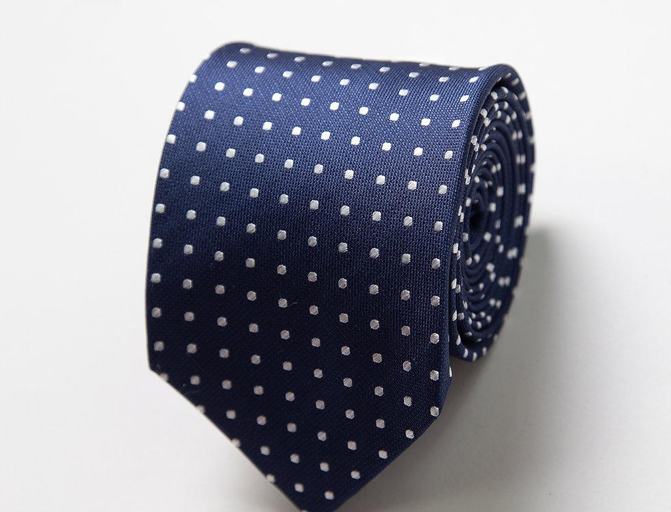 Cravatta pura seta blu a pois bianco