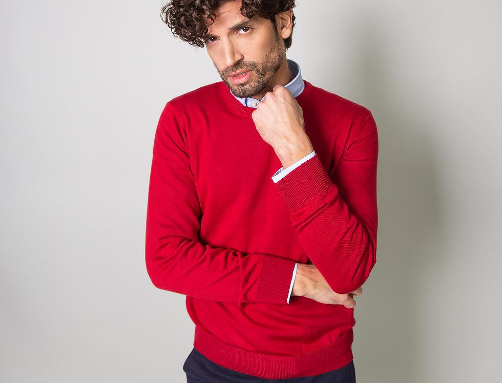Girocollo 100% lana rosso