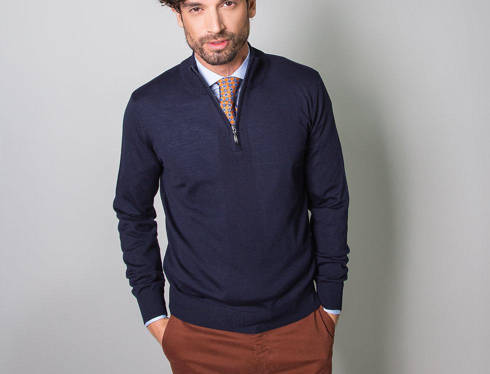 Pull mezza zip 100% lana merino blu navy
