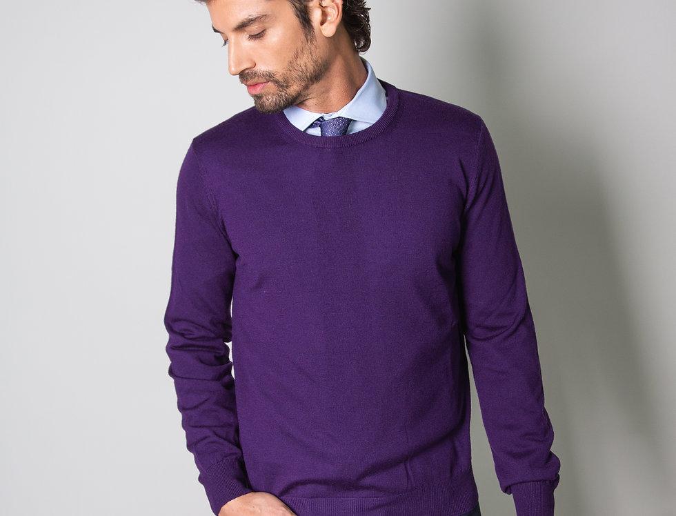 Girocollo 100% lana viola