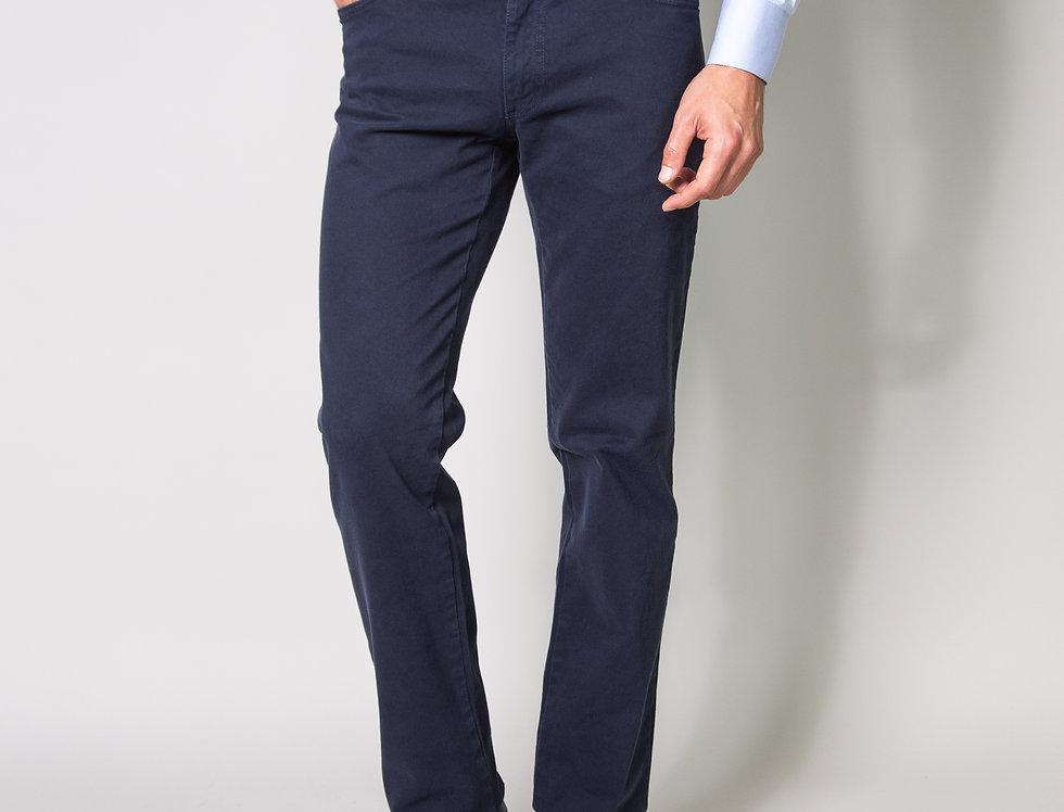 Pantalone 5 tasche in twill di cotone stretch blu