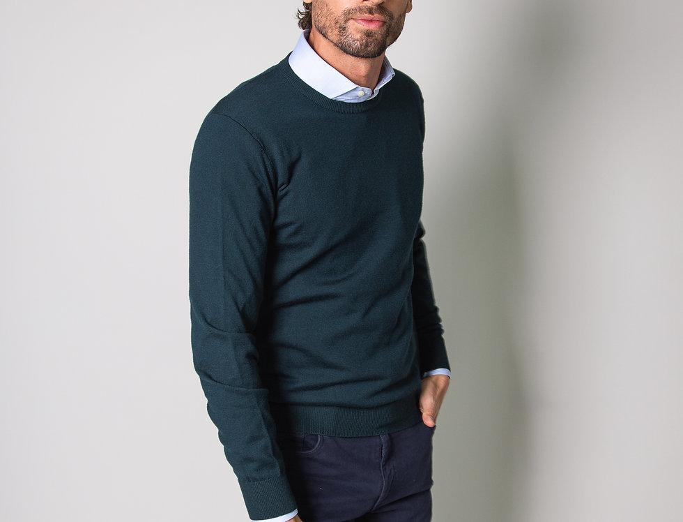 Girocollo 100% lana verde bosco