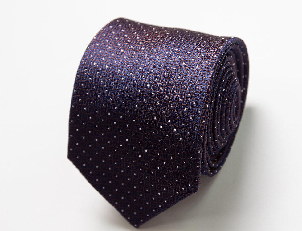 Cravatta pura seta fantasia blu e bruciato
