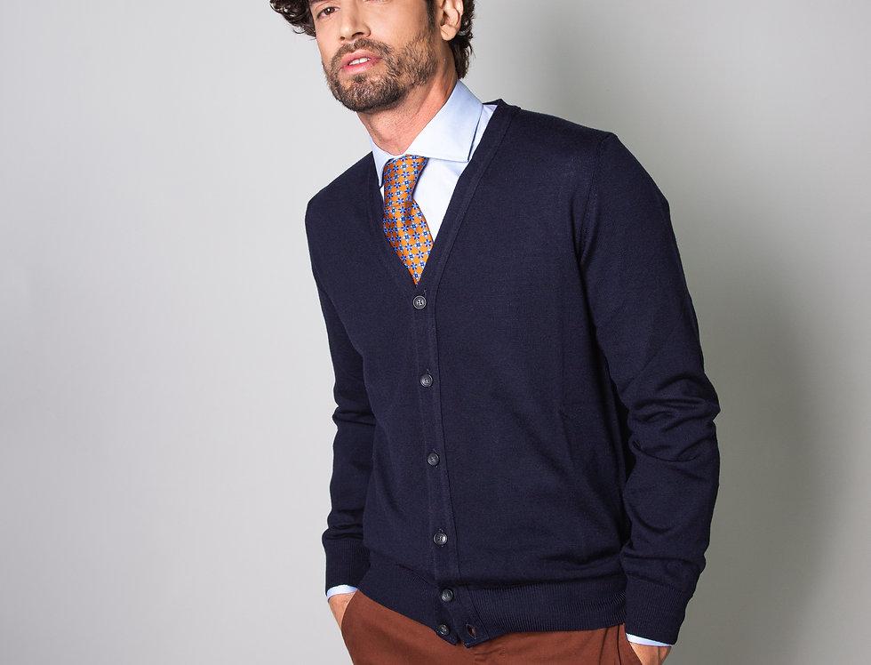 Cardigan 100% lana blu navy