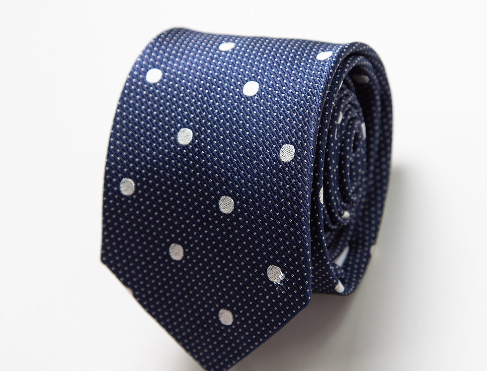 Cravatta pura seta blu a pois bianchi