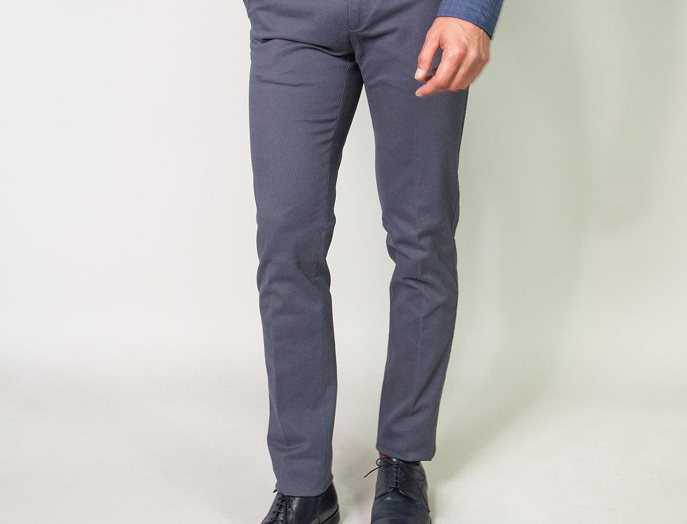 Chino in twill di cotone stretch grigio