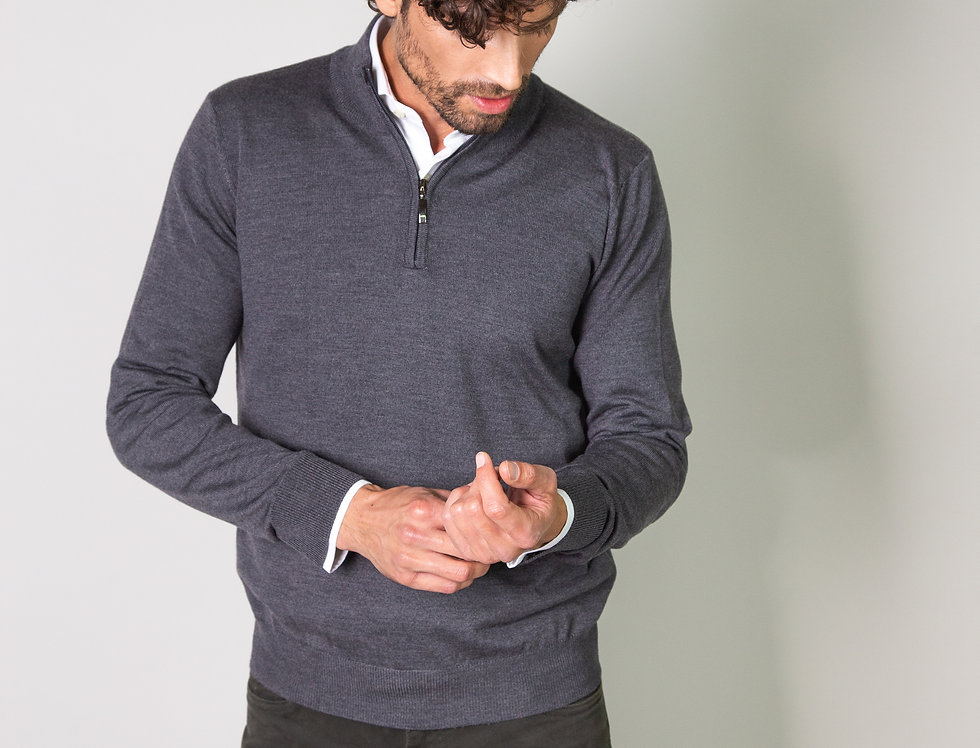 Pull mezza zip 100% lana merino grigio ferro