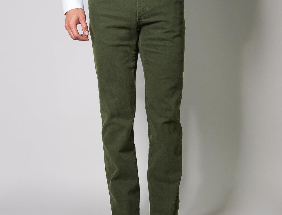 Pantalone 5 tasche in twill di cotone stretch army