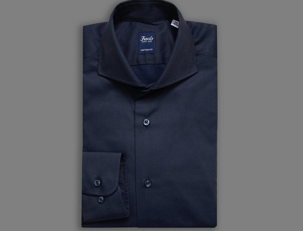 Camicia in piquet di puro cotone blu notte