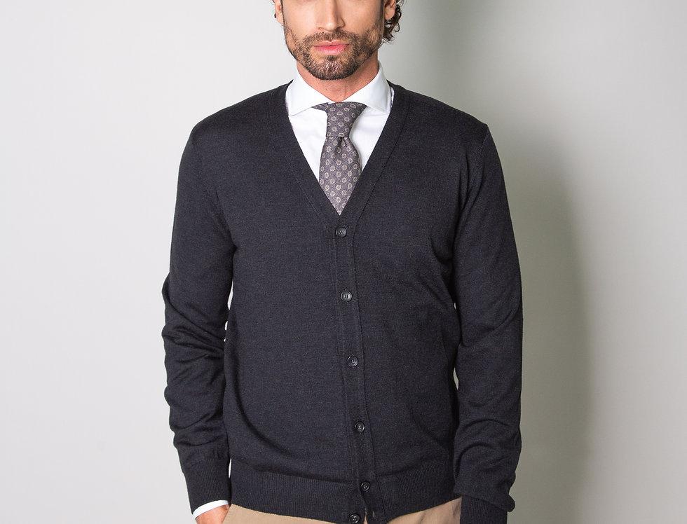 Cardigan 100% lana antracite