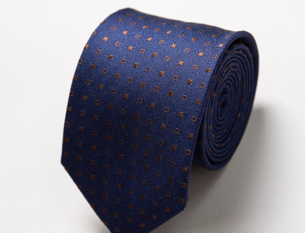 Cravatta pura seta fantasia blu castagna