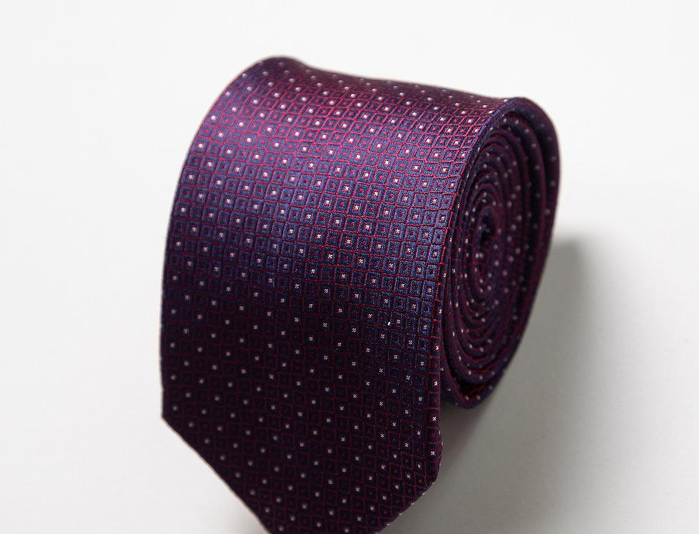 Cravatta pura seta fantasia blu e bordeaux