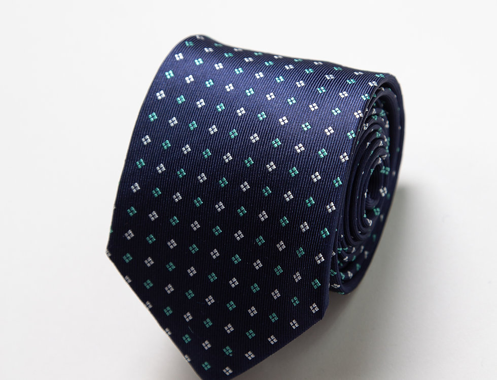 Cravatta pura seta fantasia blu e acquamarina