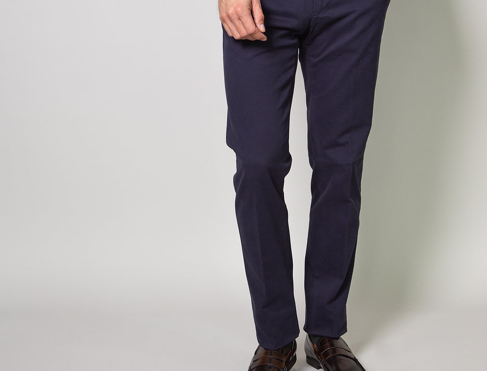 Chino in twill di cotone stretch blu