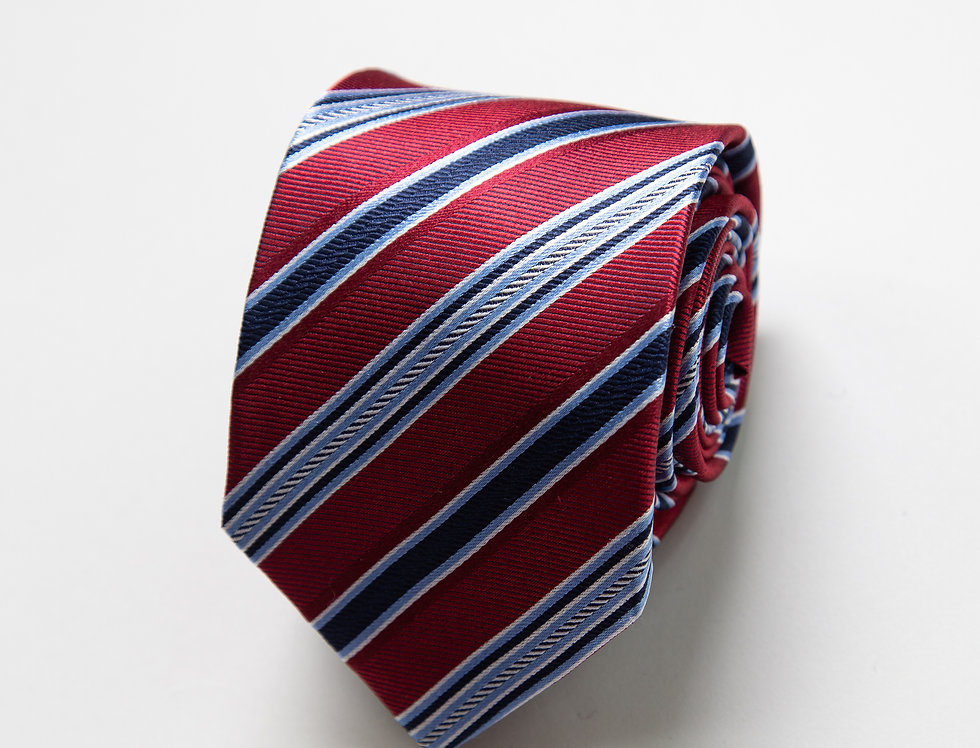 Cravatta pura seta regimental amaranto