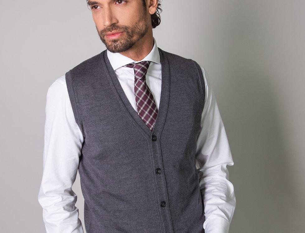 Gilet 100% lana grigio ferro