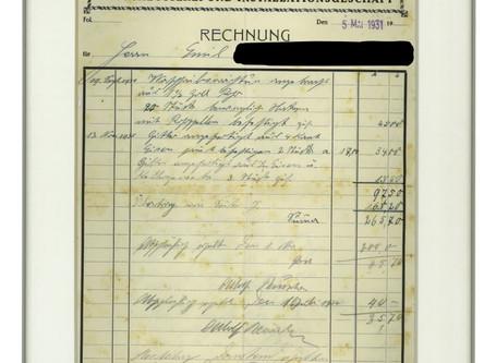 """""""Dachbodenfund"""" - Rechnung von 1931"""