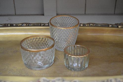 Teelichter mit gold Rand  (groß)