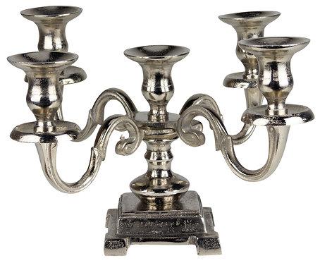 Kerzenständer 5-er Metall antik-silber