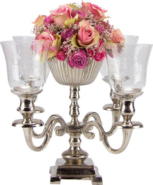 Kerzenständer 4-er mit Metallschale antik-silber