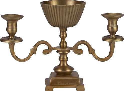 Kerzenständer 2-er mit Metallschale messing
