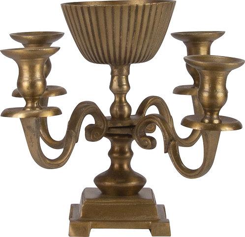 Kerzenständer 4-er mit Metallschale messing