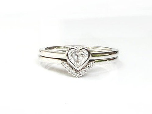 Bezel Set Heart Cut Diamond and Nesting Ring Set