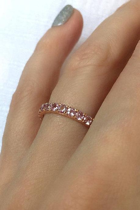 Classic Light Pink Sapphire Eternity Ring 2.5mm