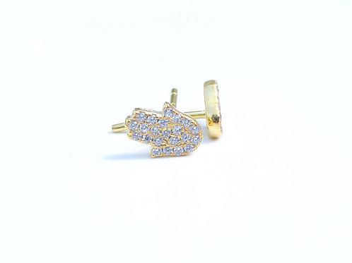 Diamond Hamsa Hand Stud Earrings
