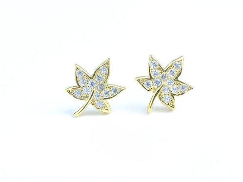 Diamond Leaf Stud Earrings